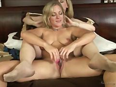 Over Thumbs - Blonde lesbians play w...