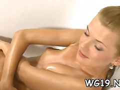 Gal plays with glass t...