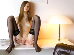 Black stockings and pu...