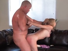 Tiny blonde girl gets fuc...