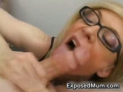 Blond milf in glasses ...