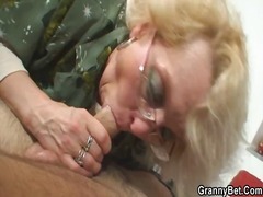 Lonely granny swallows...