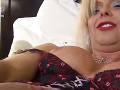 aShemaleTube - Mature blonde ts fondled