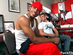 Ebony gay dude gets ti...