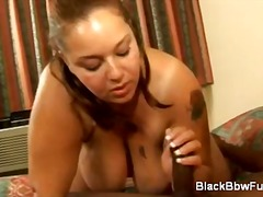 Cute black bbw gives oral