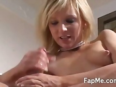Naked blonde enjoying ...