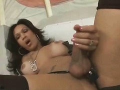 She is jerking her hot...