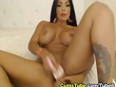 Busty lady two dildo p...