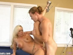 Busty blonde fucked by... from PornerBros