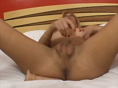 Blonde ts cock jerking