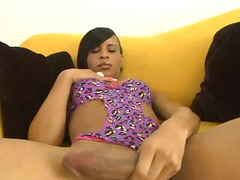 Black tranny loves sol... from PornoXO