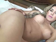 aShemaleTube - Sexy blonde has flamin...