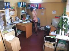 Hidden cam brunette in...