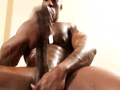 Gay stroking of cock f...