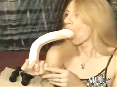 Swallowing dildos deep from PornoXO