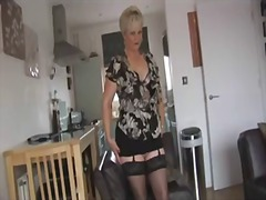 Curvy blonde mature in...