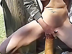 Sitting on a big dildo from Vporn