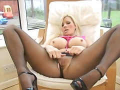 Busty blonde plays in ...