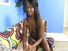 Ebony gets cum splattered