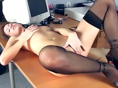 Office babe fingering ...