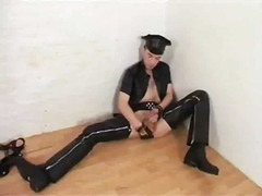 Guy in uniform toying ...