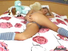 Over Thumbs - Young blonde chick rol...