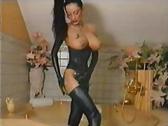 Latex fetish girl show...