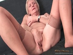 Granny strips to stock... from Alpha Porno