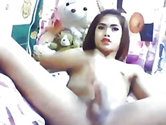 Asian tranny jerking o... from H2porn