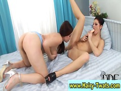 PornerBros - Two hot hairy lesbians...