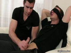 Lucky blindfolded guy ...