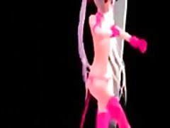 3d girl in pink dancing