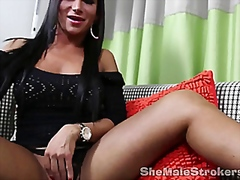 Sexy brunette tranny solo from Vporn