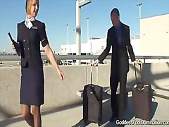 Stewardess give footjobs