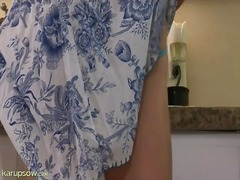 Housewife in a dress s...
