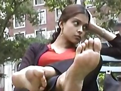 Girl shows feet