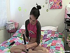 Teen brunette playing ...
