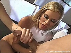 Two girls give a handjob