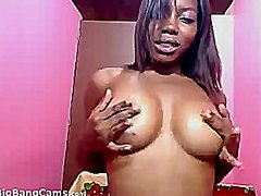 Ebony girl strips and ...