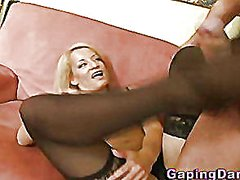Babe gives footjob in ...