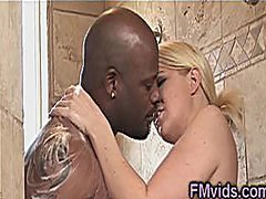 Black on blonde shower from Redtube