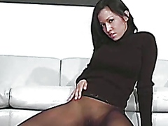Nylons fetish brunette...