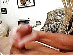 Blonde bitch sits on h...