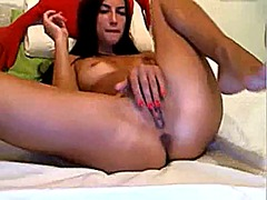 Girl plays with pussy ...