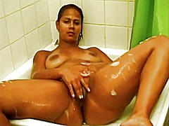 Girl plays in shower