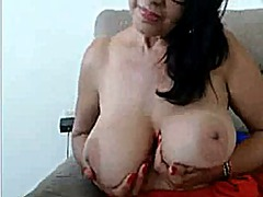 Big tits on milf on couch