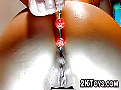 Anal bead fun close up from IcePorn