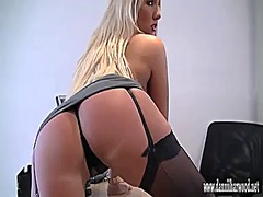 Horny blonde secretary te...