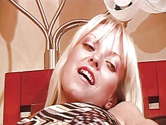 Horny blonde in a prin...