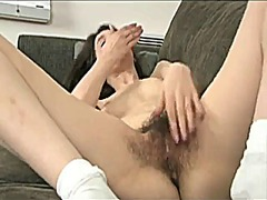 Babe with hairy pussy ...